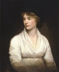 Left-looking half-length portrait of a possibly pregnant woman in a white dress