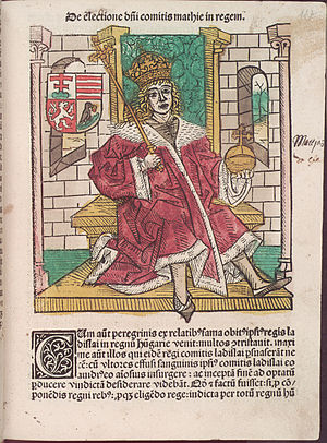 Johannes de Thurocz - Matthias Corvinus as depicted in Chronica Hungarorum by Johannes de Thurocz