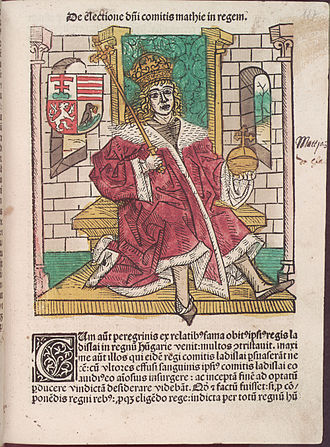 Stephen V Báthory - Matthias Corvinus as depicted in Chronica Hungarorum by Johannes de Thurocz