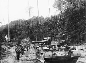 1st Royal New South Wales Lancers - An Australian Matilda Frog flamethrower tank in Borneo, 1945.