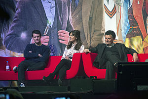 2013 in science fiction - Actors Matt Smith and Jenna Coleman and producer Steven Moffat celebrating the 50th anniversary of Doctor Who
