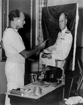 McClelland Barclay - McClelland Barclay painting a portrait of Husband E. Kimmel