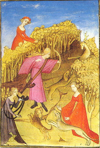 Medieval hunting - Medieval women hunting, illustration from a period manuscript.
