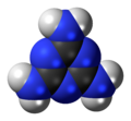 Space-filling model of the melamine molecule