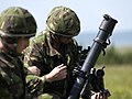 Members of 51 Squadron RAF Regiment, taking aim before live firing a 81mm Mortar. MOD 45144831.jpg