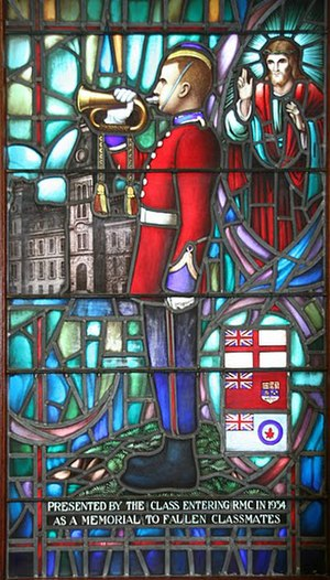 "Last Post - Memorial stained glass window, Class of 1934, Royal Military College of Canada showing officer cadet playing the bugle call for the ""Last Post"" or ""The Rouse""."