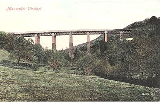 Cornwall Railway viaducts - Trevido Viaduct after reconstruction, named Menheniot Viaduct on an old postcard