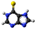 Mercaptopurine molecule ball from xtal.png