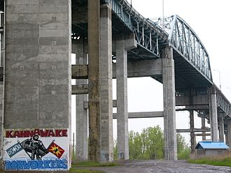 Honoré Mercier Bridge - Underneath the Mercier Bridge in Kahnawake.