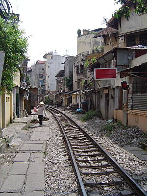 Vietnam Railways - A section of metre-gauge line in Hanoi.