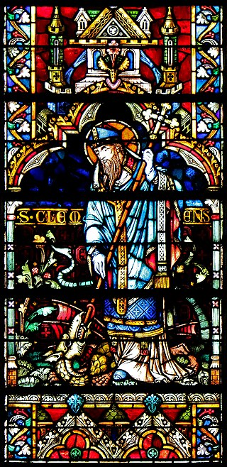 Klemens av Metz, glassmaleri av Hermann de Munster i katedralen i Metz (1300-t)