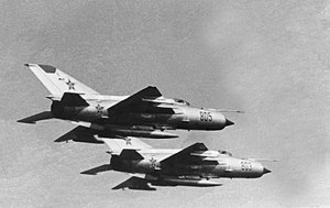 Operation Rimon 20 - Romanian MiG-21MFs, the Soviet aircraft type deployed to Egypt.