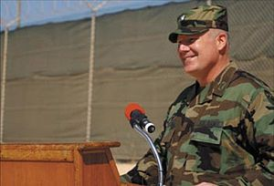 Guantanamo Bay homicide accusations - Michael Bumgarner, commander of Camp America and head of the guard forces at the time of the alleged suicides