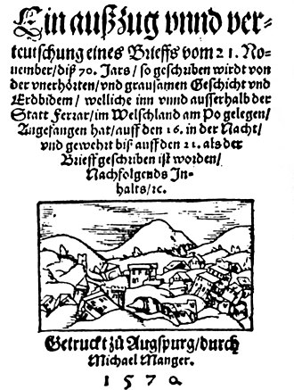1570 Ferrara earthquake - Book by Michael Manger (1570)