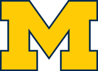 A blue block M with maize-colored borders and the word Michigan across the middle.