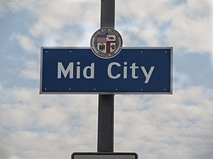 Mid-City, Los Angeles - Mid-City signage located at the intersection of  La Brea Avenue and the Santa Monica Freeway