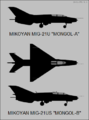 Mikoyan-Gurevich MiG-21U and MiG-21US silhouettes.png