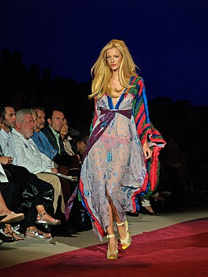 New York Fashion Week - Milagros Schmoll walks the runway at the Custo Barcelona Spring 2009 show in New York.