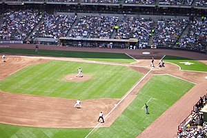 English: Pitcher making his pitch during a Mil...