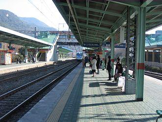 Korea Train Express - KTX train approaches Miryang Station, on the non-high-speed Daegu-Busan section