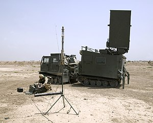 Mobile Artillery Monitoring Battlefield Radar - Mobile Artillery Monitoring Battlefield Radar in Al Amarah, Iraq being used by K Battery 5th Regiment Royal Artillery (RA). Shown placed in a BV-206 vehicle.