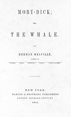 Титульный лист первого издания романа «Моби Дик». 1851