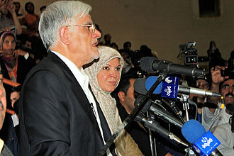 Mohammad Reza Aref - Aref and his wife in Mashhad during a campaign meeting