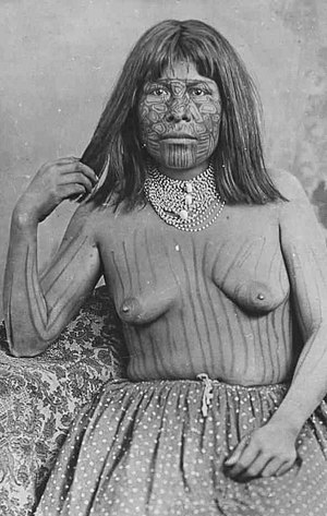Olive Oatman - Mohave woman with tattoos, 1883