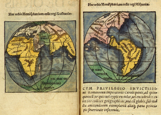 The Portuguese (Lusitanian) and Spanish hemispheres of the globe of Monachus Monachus 1527 globe map 05.png