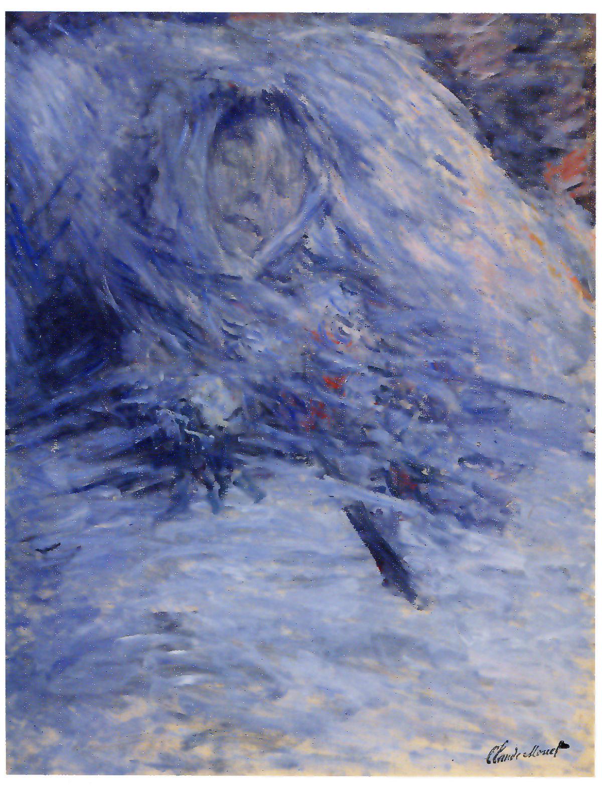В рисунке преобладает синий цвет