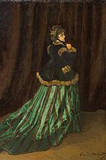 La femme en robe verte monet