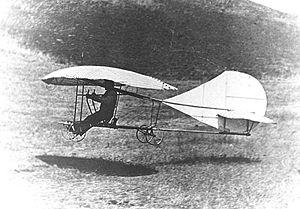 John Joseph Montgomery - John J. Montgomery landing The Evergreen monoplane glider in October, 1911.