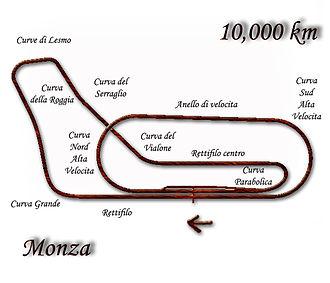 1956 Italian Grand Prix - Autodromo Nazionale Monza layout