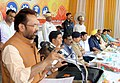 Mukhtar Abbas Naqvi addressing the gathering after inaugurating the various development projects of Minority Affairs Ministry, Govt. of India & Ministry of Minority Welfare, Govt. of Uttar Pradesh in Bilaspur, Swar.JPG