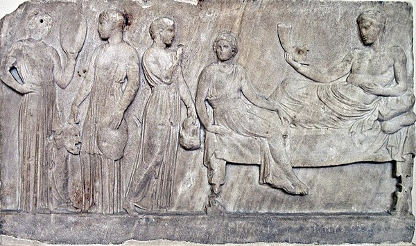 Relief, now in Athens, showing Dionysus with actresses (possibly from The Bacchae) carrying masks and drums NAMA Bacchantes.jpg