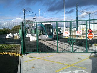 Nottingham Express Transit - A pair of new NET Citadis trams at Wilkinson Street depot in Nottingham