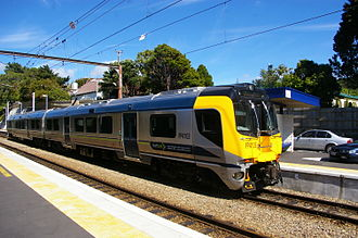 Railway electrification in New Zealand - An FP class Matangi EMU at Khandallah on the Johnsonville Line, 2011