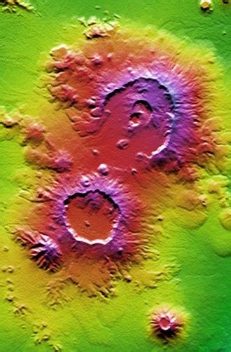 Nabro Volcano - False-color topographical relief image of Nabro caldera (top; in Eritrea) next to the Mallahle volcanic caldera (in Ethiopia), then Sork Ale in the bottom right.
