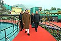 Narendra Modi visiting the orchid display and seasonal flowers exhibition, in Gangtok. The Chief Minister of Sikkim, Shri Pawan Kumar Chamling and the Minister of State for Development of North Eastern Region (IC).jpg