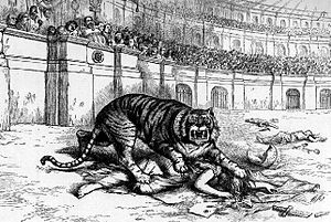 Tammany Hall - Thomas Nast denounces Tammany as a ferocious tiger killing democracy.  The image of a tiger was often used to represent the Tammany Hall political movement.