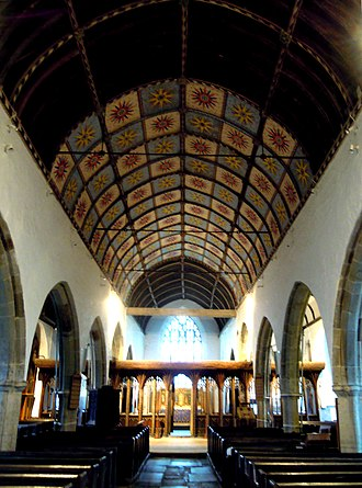 St Nectan's Church, Hartland - View down the nave showing the wagon-roof