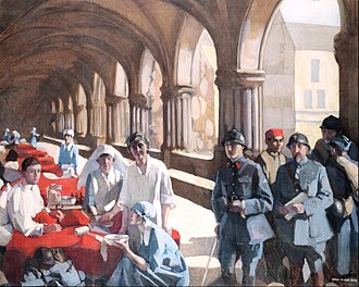 Scottish Women's Hospitals for Foreign Service - Dr Frances Ivens inspecting a French patient at the Scottish Women's Hospital at Royaumont. Painting by Norah Neilson Gray.