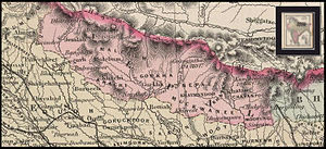 Nepal Mandala - Map from 1886 showing Nepal Mandala between Gorkha in the west, Khatang in the east and Muckwanee in the south.Kirat in the east