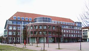 Uelzen - View across the Herzogenplatz to the new Uelzen Town Hall