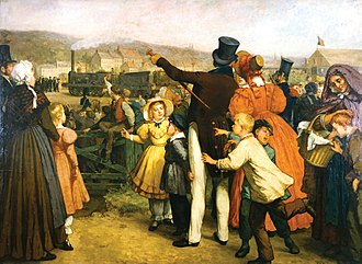 History of rail transport in Belgium - Painting of the opening of the Brussels-Mechelen railway on 5 May 1835