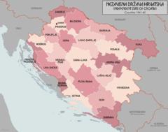 Kort over Kroatien 1941.