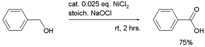 Nickel oxide hydroxide oxidation of benzyl alcohol