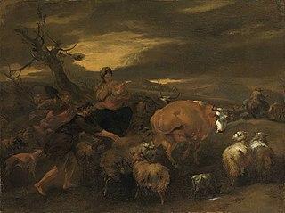 Abendlandschaft mit Viehherde und Hirten