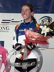 Nicole Cooke Geelong World Cup 2007 podium 1.jpg