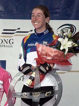 Nicole Cooke - Cooke on the podium after winning the 2007 Geelong World Cup